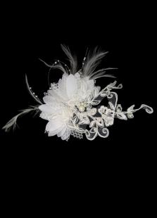Pena branca laço cabeça nupcial fabuloso flor