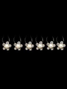 6-peça White Metal strass imitação pérola gancho de cabelo para noivas