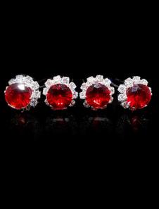 4-Peça de Metal lindo redondo brilhante strass gancho de cabelo para noivas