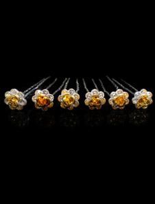 اكسسوارات الزفاف الأصفر دبوس الشعر حجر الراين المعدنية حجر الراين في 6pcs