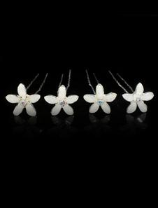 4 peças branco Metal lindo cristal gancho de cabelo para o casamento