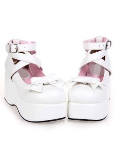 Sapatos de Plataforma alta branca Lolita  PU tornozelo alças arco Decor redondo do dedo do pé