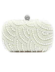 Borsa da sera bianca formale lucente adornata di perle con perline da cerimonia