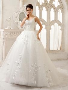 Espaguete a linha marfim correia Rhinestone capela trem vestido de noiva com Scoop pescoço  Milanoo