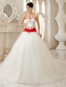 Marfim-line Sequin trem capela cetim vestido para noiva com pescoço Strapless querida Milanoo