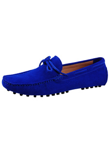 Royal Blue Loafers 2020 Мужская обувь Cowhide Round Toe Bow Slip On Driving Shoes