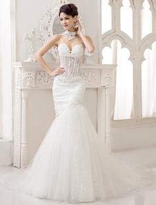 تشكيل الدانتيل العاج الحلو القلب حورية البحر البوق فستان الزفاف ميلانو