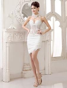 Vestido de noiva marfim curto tomara-que-caia em renda com transparência na cintura e apliques Milanoo