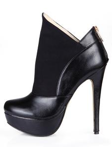 أسود اللوز تو خنجر كعب بو الجلود الحديثة المرأة الكعب أحذية الكاحل