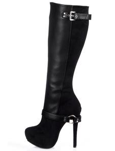 ارتفاع كعب الحذاء الأسود اللوز تو بو الجلود خنجر كعب أحذية عالية في الركبة أحذية الشتاء النساء 2020