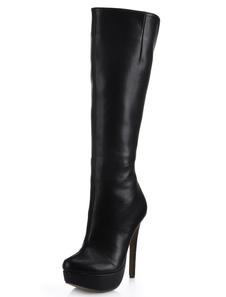 الساحرة الأسود اللوز تو خنجر كعب بو الجلود المرأة الركبة طول الأحذية