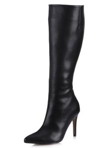 Высокие каблуки Сапоги черные с тонкими пальцами