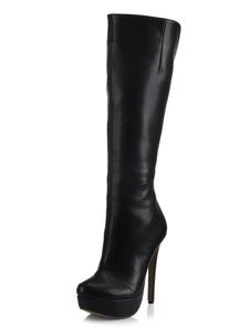 أحذية سوداء واسعة الساق اللوز منصة كعب ستيليتو الركبة أحذية عالية أحذية عالية الكعب للنساء 2020