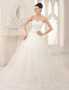Vestido de noiva marfim tomara-que-caia linha-A decote coração em tule com cauda e apliques