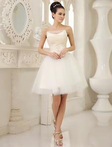 العاج ألف خط حمالة الدانتيل الركبة طول تول حفل زفاف فستان ميلانو