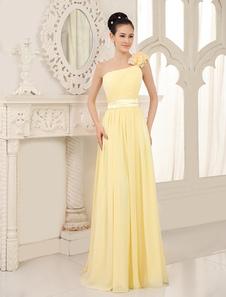Vestido de dama de honra Daffodil One Shoulder Chiffon Flowers Straps Vestidos de festa de casamento de comprimento plissado
