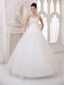 Clássico do assoalho-comprimento vestido de marfim noivas casamento vestido com bola querida pescoço cristal tule