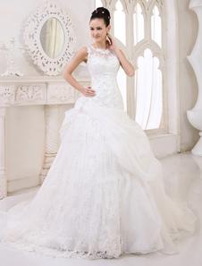 Marfim bola vestido jóia pescoço Sequin capela trem vestido de noiva para noiva  Milanoo