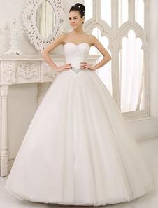 Bola marfim clássico do assoalho-comprimento vestido vestido de casamento nupcial com querida pescoço Rhinestone Tulle