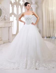 Vestido de noiva marfim linha-A tomara-que-caia em tule com decote V e detalhes em pedras Milanoo