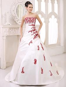 Церемониальный шлейф слоновой кости бальное платье свадебное платье для невесты с бретелек блестками  Milanoo