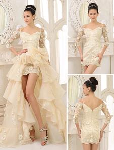 اكتساح الشمبانيا الزفاف ألف خط فستان الزفاف مع خارج على الكتف السباغيتي حزام القوس ميلانو