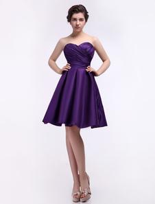Онлайн возлюбленной шеи Ruched винограда атласа платье невесты