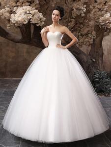 Длина до пола белый шар для новобрачных бальное платье свадебное платье с возлюбленной шеи Ruched