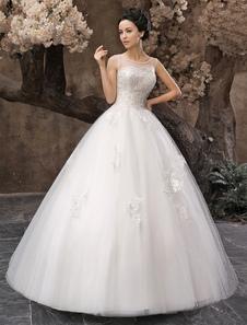 Vestido de noiva marfim linha-A em tule e renda com apliques