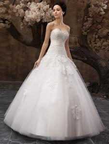 Abito da sposa bianco lussuoso in tulle con paillettes