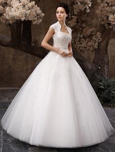 Длина до пола белый шар блесток бальное платье свадебное платье для невесты с Keyhole шеи