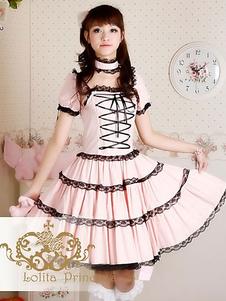 Rosa Lolita OP Vestido Negro Encaje Encaje Volantes