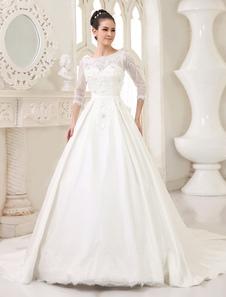 Гламур слоновой кости-Line Scoop шеи Цветок Часовня поезд свадебное платье  Milanoo