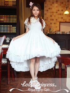 Doce laço do Chiffon branco Lolita vestido uma peça mangas curtas Design de cauda de andorinha