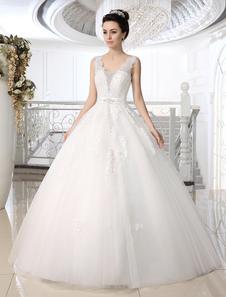 Vestido de casamento nupcial de assoalho-comprimento de laço do bola branca vestido encantador