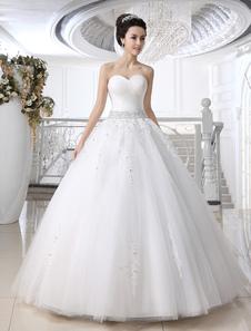 Белый шар бальное платье без бретелек Милая шеи горный хрусталь длиной до пола свадебное платье