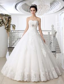 Bola branca Vestido Strapless querida pescoço laço assoalho-comprimento vestido de casamento nupcial
