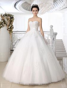 Белый шар бальное платье без бретелек Милая шеи кружева длиной до пола свадебное платье для невесты