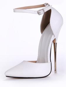 Zapatos puntiagudos de PU blanco