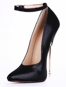 PU preto couro cobra, cinta de tornozelo impressão apontou Toe scarpin Sexy