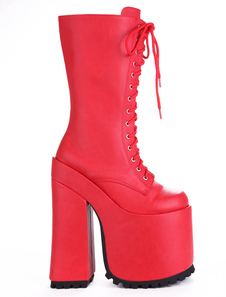 Mulheres Sexy sapatos vermelhos plataforma Lace Up botas de salto alto