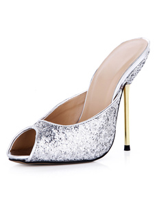 Pantofole argente con paillettes con tacco da 12.5cm