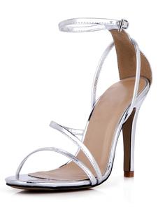 Fivela de prata salto agulha PU couro moda chique vestido sandálias