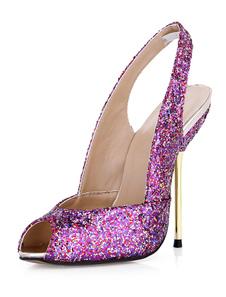 Высокие каблуки сандалии Fuchsia Peep Toe Slingbacks сандалии обувь женская обувь