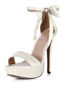 Open Toe fivela branco imitado seda sandálias lindas de noite e da noiva