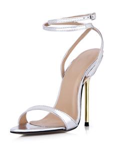 Salto stiletto botões sandálias de chique vestido de couro do plutônio