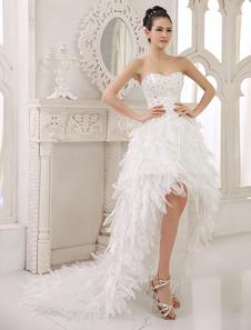 Vestido de casamento nupcial assimétrico hierárquico de pescoço de marfim a linha Strapless querida  Milanoo