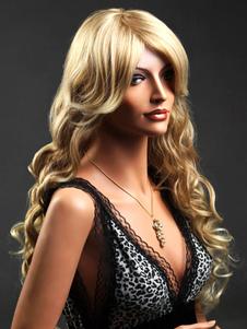 Tradicional ouro cachos de saca-rolhas sintéticas peruca longa para mulher