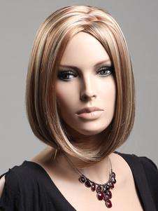 المتوسطة شعر مستعار صالة مستقيم الذهب رائع الاصطناعية للمرأة