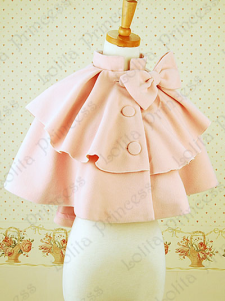 Doce arco botões lã mistura Lolita jaqueta